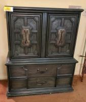 Sculptured Midcentury Armoire- Chest from Stanley Furniture circa 1960s/70's. The chest is kind of a dark olive green.