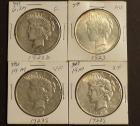1923, 1923-D and 2 1923-S Peace Silver Dollars