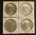 3 1923 and 1 1923-S Peace Silver Dollars