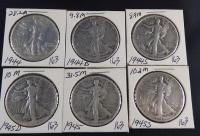 1944, 1944-D, 1944-S, 1945, 1945-D, 1945-S Liberty Walking Half Dollars