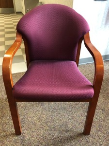 Fabric Curved Arm Chair, Burgundy