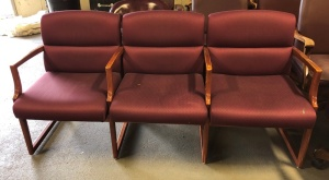 Triple Fabric Chairs, Burgundy (with hole)