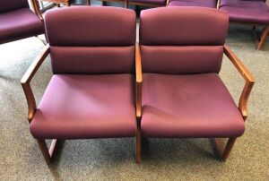 Double Fabric Chairs, Burgundy
