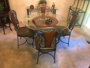 Ashley Glass Top Dining Table with 4 Chairs