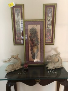 3 Wall Pictures, 2 Deer Statues, Small glass Votive