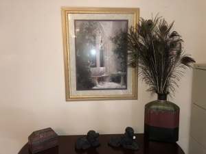 Picture w/Dove, Trinket box, 2 Dog Statues, Large Vase w/Peacock Feathers