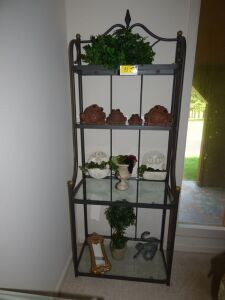 Greenery, 4 Frog Statues, Topiary, Monkey Statue & Misc. (Rack not included)