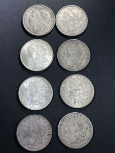 (8) 1921 MORGAN SILVER DOLLARS