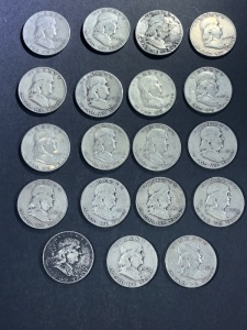 (19) VARIOUS BEN FRANKLIN HALF DOLLARS