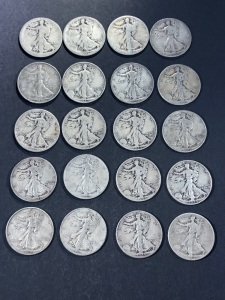 (20) VARIOUS LIBERTY WALKING HALF DOLLARS