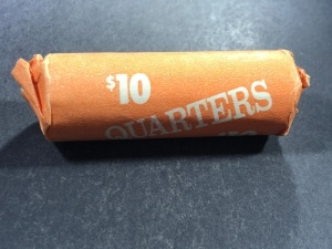 1 ROLL OF 1964 + EARLIER SILVER QUARTERS, DATES & MINT MARKS NOT CHECKED