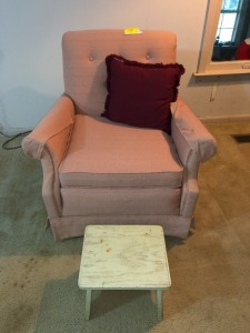 Mauve Accent chair and stool