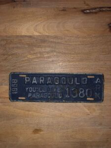 1958 PARAGOULD LICENSE PLATE