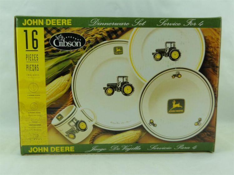 Everyday Gibson John Deere 16-Piece Dinnerware Set Service for 4 - Current price $20 & Everyday Gibson John Deere 16-Piece Dinnerware Set Service for 4 ...