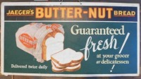 JAEGER'S BUTTER NUT BREAD ADVERTISING SIGN VINTAGE ANTIQUE 21 W X 11 H