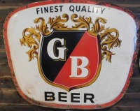 GB BEER - GRIESEDIECK BROTHERS BREWING CO. ADVERTISING SIGN VINTAGE ANTIQUE 47 H X 58 W - 2