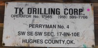 TK DRILLING CORP - OKLAHOMA ADVERTISING SIGN VINTAGE ANTIQUE 24 X 12