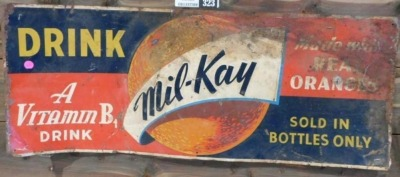 MIL-KAY DRINK SIGN ADVERTISING SIGN VINTAGE ANTIQUE 35 W X 14 H