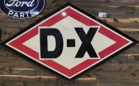 DX GASOLINE DOUBLE SIDED PORCELAIN W/ORIGINAL FRAME & HANGERS ADVERTISING SIGN VINTAGE ANTIQUE 40 H X 73 W - 2