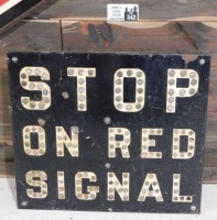 STOP ON RED SIGNAL WITH REFLECTOR MARBLES INTACT SIGN VINTAGE ANTIQUE 25 W X 22 H - 4