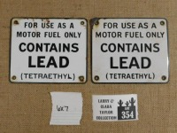 CONTAINS LEAD TETRAETHYL PORCELAIN SIGNS PAIR 6 X 7 - 3