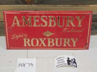 AMESBURY ROXBURY ADVERTISING SIGN VINTAGE ANTIQUE 14 X 8 - 6