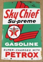SKY CHIEF SU-PREME TEXACO PETROX  ADVERTISING SIGN VINTAGE ANTIQUE 12 X 18 - 3
