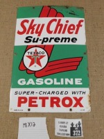 SKY CHIEF SU-PREME TEXACO PETROX  ADVERTISING SIGN VINTAGE ANTIQUE 12 X 18 - 4