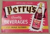 PERRY'S BEVERAGES  ADVERTISING SIGN VINTAGE ANTIQUE