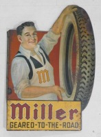 SCARCE MILLER TIRE TIN FLANGE CHROMOLITHOGRAPHED TEENS/1920S SIGN   GEARED TO THE ROAD CORD ADVERTISING VINTAGE ANTIQUE