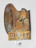 SCARCE MILLER TIRE TIN FLANGE CHROMOLITHOGRAPHED TEENS/1920S SIGN   GEARED TO THE ROAD CORD ADVERTISING VINTAGE ANTIQUE - 2