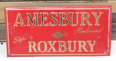 AMESBURY ROXBURY ADVERTISING SIGN VINTAGE ANTIQUE 14 X 8