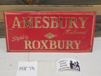 AMESBURY ROXBURY ADVERTISING SIGN VINTAGE ANTIQUE 14 X 8 - 3