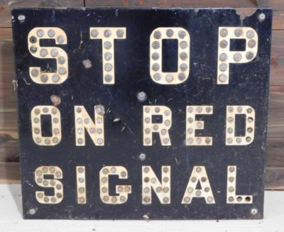 STOP ON RED SIGNAL WITH REFLECTOR MARBLES INTACT SIGN VINTAGE ANTIQUE 25 W X 22 H