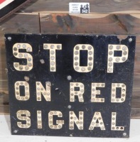 STOP ON RED SIGNAL WITH REFLECTOR MARBLES INTACT SIGN VINTAGE ANTIQUE 25 W X 22 H - 2