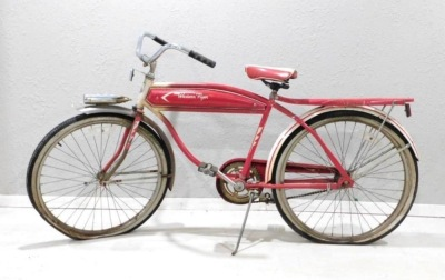 1950 WESTERN FLYER BICYCLE RED WHITE VINTAGE ANTIQUE
