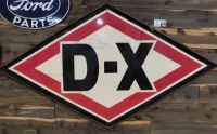 DX GASOLINE DOUBLE SIDED PORCELAIN W/ORIGINAL FRAME & HANGERS ADVERTISING SIGN VINTAGE ANTIQUE 40 H X 73 W