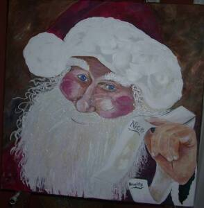 PERSONALIZED SANTA ART. 24 x 24, Finished on all sides, no need for frame.  Personalize it with your family's names.  Sponsored by Soldasap.com, Tasabah & Associates, llc