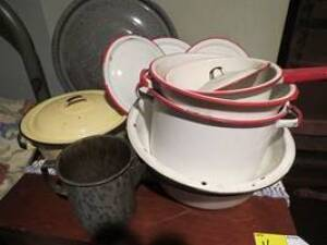 Granite pots and pans, red and white pots