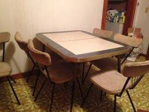 1950's Dinette set with Formica top Chrome & 6 chairs