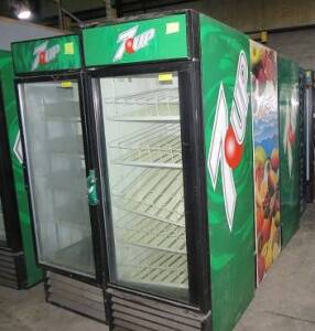 (10) some TRUE (GDM26) and some Beverage Aire , self serve single door refrigerators- compressors  run, some may need bulbs
