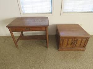 Neat Oak Antique Table and end table