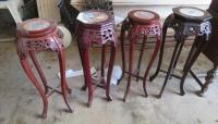 4 Carved Plant Stands with Marble Top approximately 3 Ft.