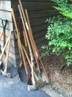 (2) Axes, Sharp Shooter, Wooden Handle Shovel, 2 Shovels, Hoes, and Cultivator