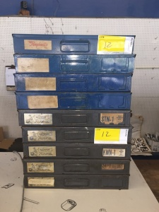 9 Rockford assortment cases with parts ( springs, washers, pins, rim studs, woodruff keys, spring pins, cotter pins, manifold nuts