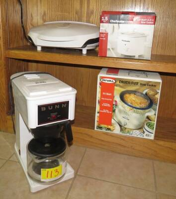 Bunn Coffee Maker, 2 Crockpots, and Gorge Forman