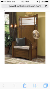 """Mission Oak"" Hall Tree with storage bench ( New In Box)"