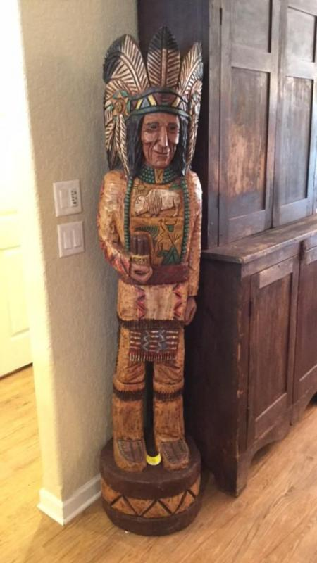 Cigar Store Carved Wooden Indian By Ralph Gallagher Current