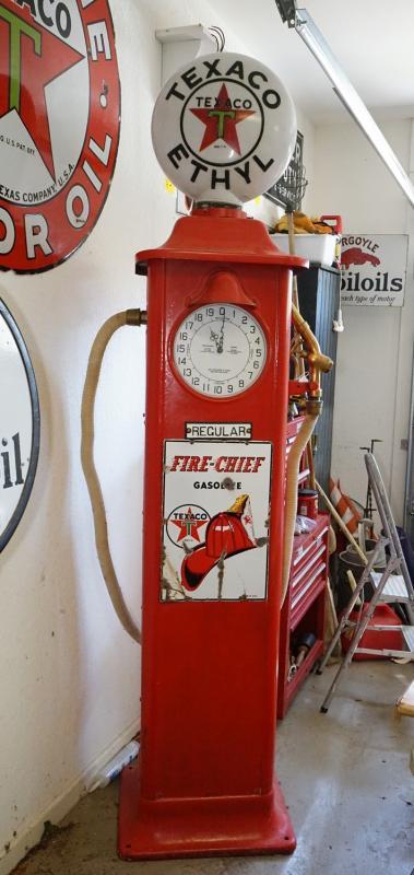 1928 Texaco Fire Chief Clock Face Gasoline Pump- GLOBE NOT