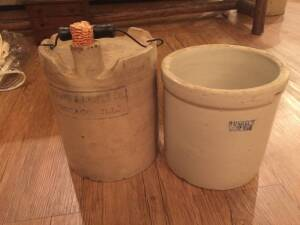 Durand & Lasper co. 1890's beer jug and ruckle's stoneware crock